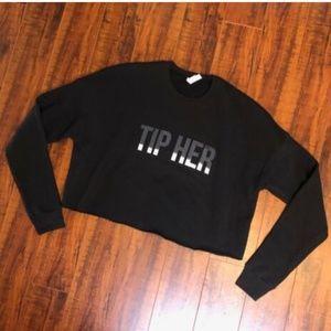 """Black Crop """"TIP HER"""" Sweatshirt Shirt Top"""